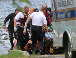 Rescue personnel with Delta Ambulance and Fairfield and Winslow fire departments responded to report of a woman who fell into the Kennebec River in Fairfield on Tuesday. She was taken to MaineGeneral Medical Center-Thayer Unit in Waterville.