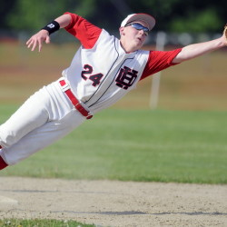 Hall-Dale High School's Josh Cowing dives for a throw to second base during a game against Oak Hill High School on Tuesday in Farmingdale.