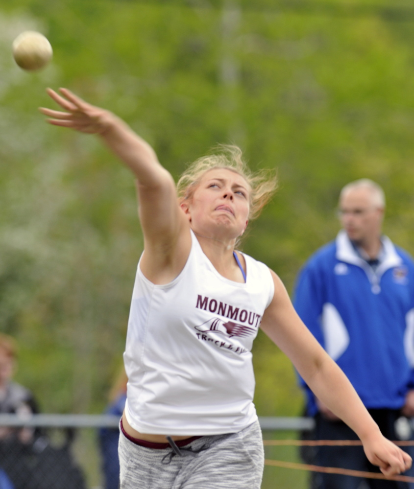 Monmouth's Mahalia Hayden throws the shot put during the Capital City Classic at Cony High School last Friday.