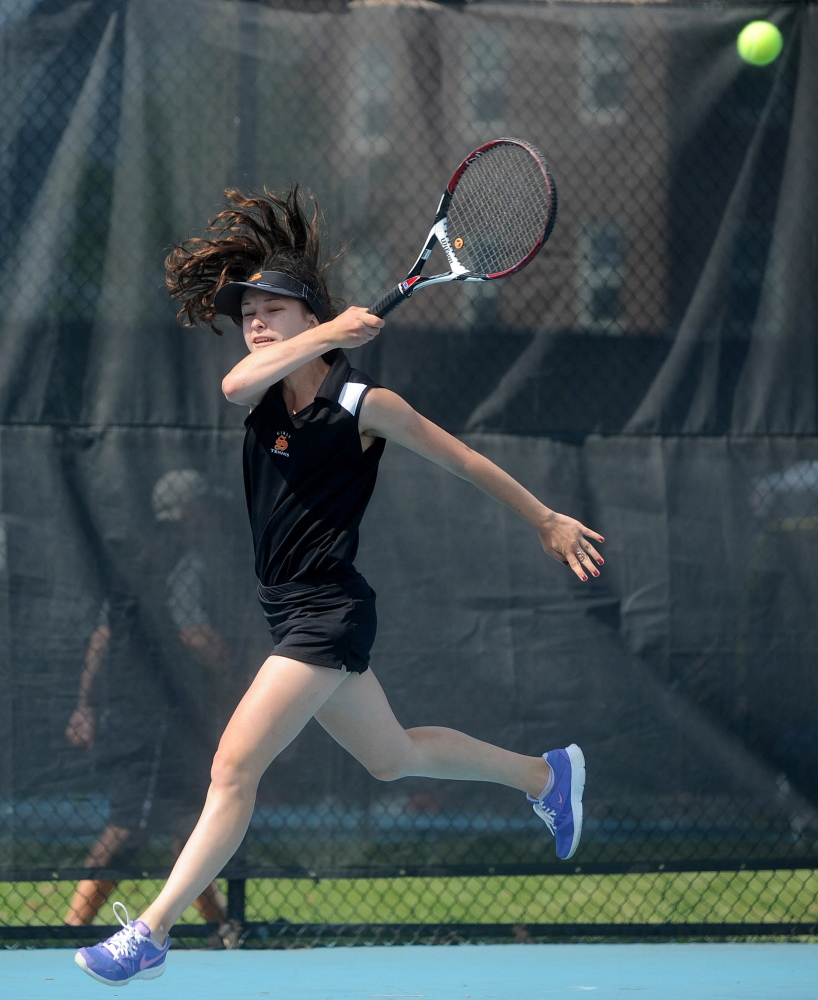 Skowhegan Area High School's Vasilisa Mitskevich competes Saturday against Greely High School's Izzy Evans in the state singles championship Round of 16 at Colby College.