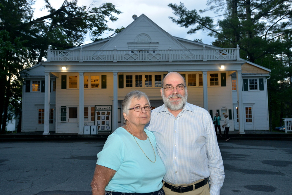 Jeff and Susan Quinn, owners of Lakewood Theater in Madison, stand outside the historic site on Thursday, the opening night of the 2015 season, in Madison.