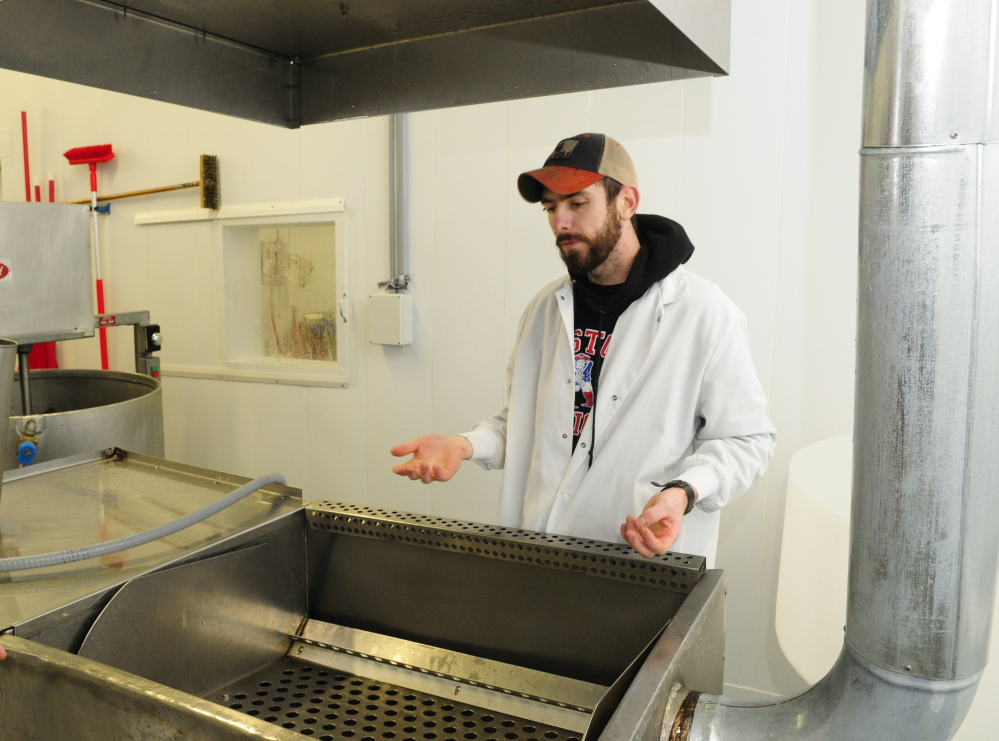 Ryan Wilson leads a tour on March 5 at Common Wealth Poultry Co. in Gardiner.