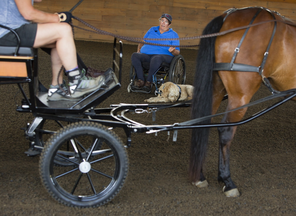 Para-equestrian driving coach Diane Kastamay, of California, coaches during an education and training event at Carlisle Academy.