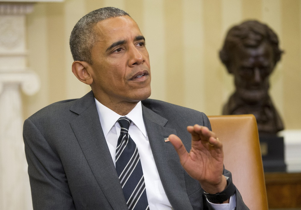 In this May 26, 2015 file photo, President Barack Obama speaks in the Oval Office of the White House in Washington.
