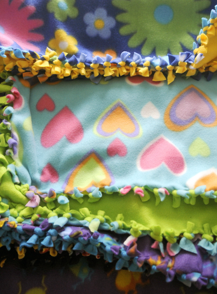 Fleece quilts on Sunday created by Judy Wildes at her Augusta home to donate to premature babies at Maine Medical Center in Portland.
