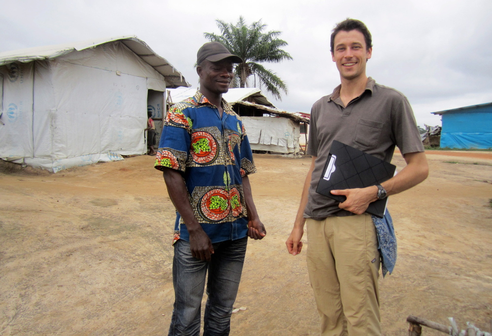 Colby College graduate Benjamin Morse conducting research in the outskirts of Monrovia, Liberia, in March 2015.