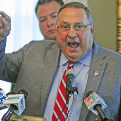 Gov. Paul LePage speaks during Friday's news conference at Blaine House in Augusta, where vowed to veto all Democratic-sponsored bills.  Joe Phelan/Kennebec Journal