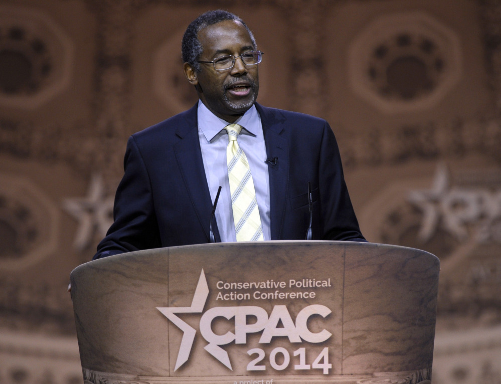 Dr. Ben Carson, professor emeritus at Johns Hopkins School of Medicine, speaks at the Conservative Political Action Conference annual meeting in National Harbor, Md., in March.