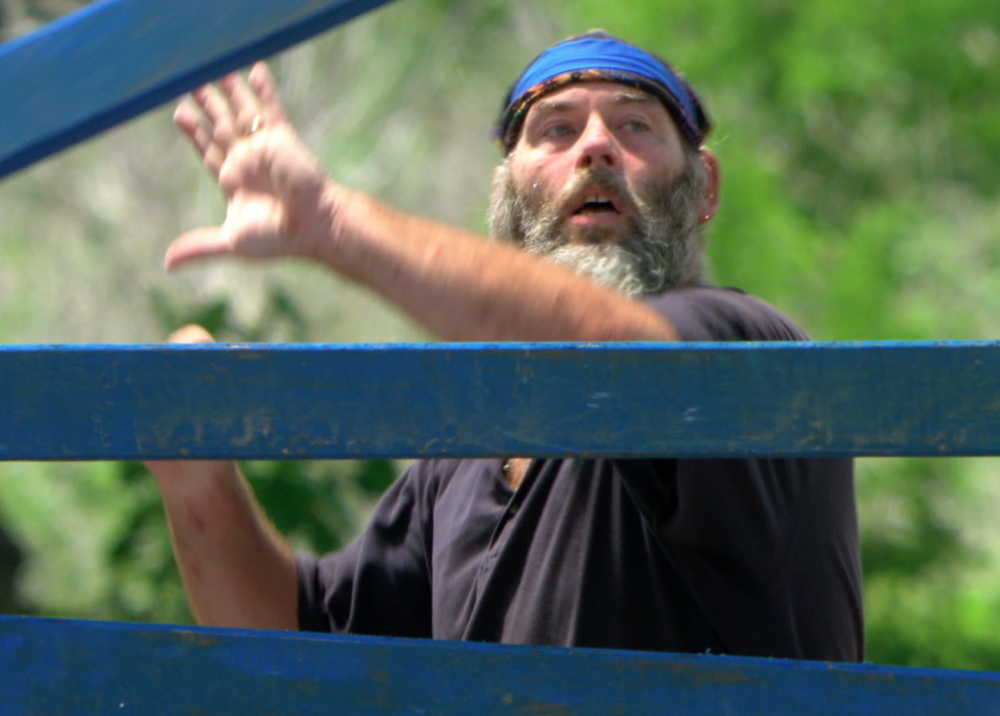 """Dan Foley competes in the 12th episode of the CBS reality-TV show """"Survivor."""" He escaped getting voted off Wednesday night after another castaway was deemed a bigger threat."""