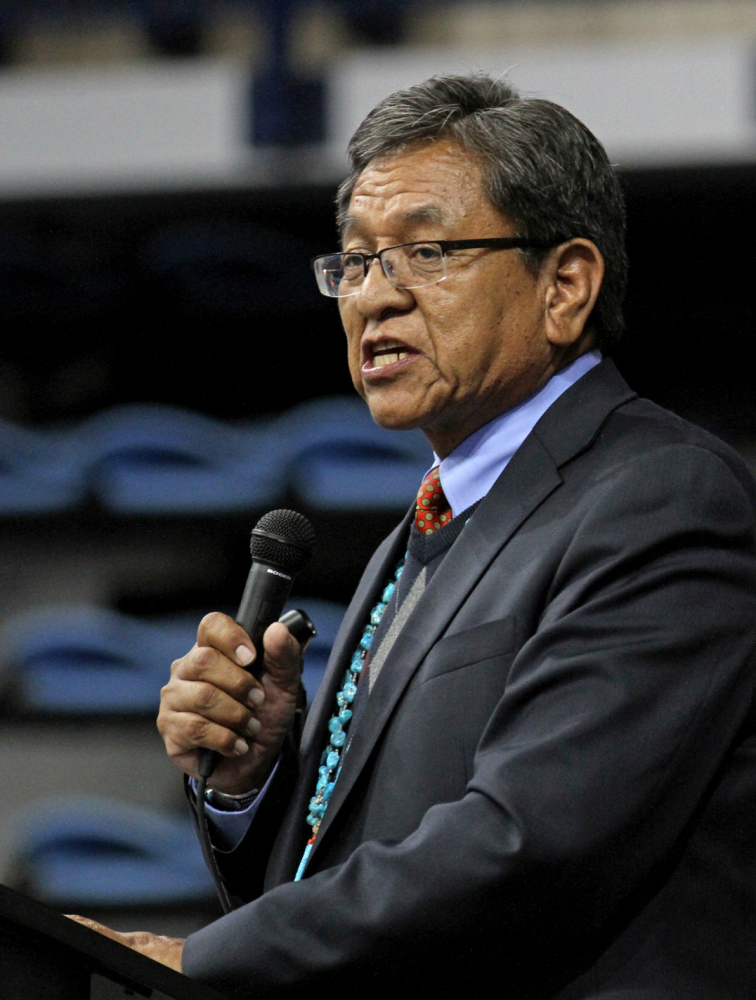 Navajo Nation President Russell Begaye during his inaugural speech at Fighting Scouts Events Center in Fort Defiance, Ariz., Tuesday