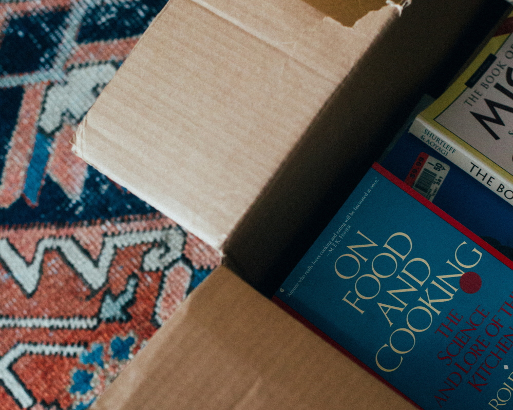 The roomy box containing books Grodinsky has culled from her collection.
