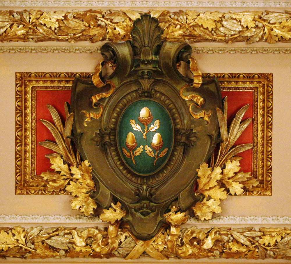 The Vanderbilt family crest adorns the ceiling of the Great Hall of The Breakers, a 70-room summer estate  built by former New York Railroad magnate Cornelius Vanderbilt II in Newport, R.I. Twenty-one Vanderbilt family members had signed a letter raising concerns about how the mansion is being managed. Donald Ross, board chairman at the Preservation Society of Newport County, said in a May 9, 2015 memo that in the past five years, the signers had contributed only $4,000 total. He also said most of the family members' items displayed at The Breakers are not very significant.