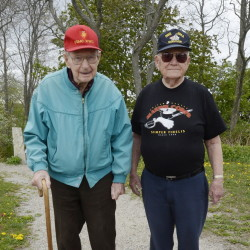 World War II veterans Fred Jeffery of Portland, left, and Roy Earle of Norway both served in the Pacific during World War II. Jeffery saw action on Okinawa and Earle was at Iwo Jima.