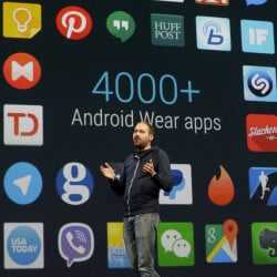 David Singleton, director at Android Wear, speaks Thursday at Google's annual developers conference in San Francisco. The Android operating system holds about an 80 percent share of the world smartphone market.