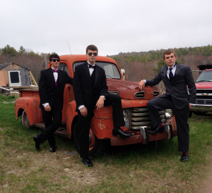 Gabe Purin, Jacob Leonard, Carter Babcock, Boothbay Region High prom, May 9