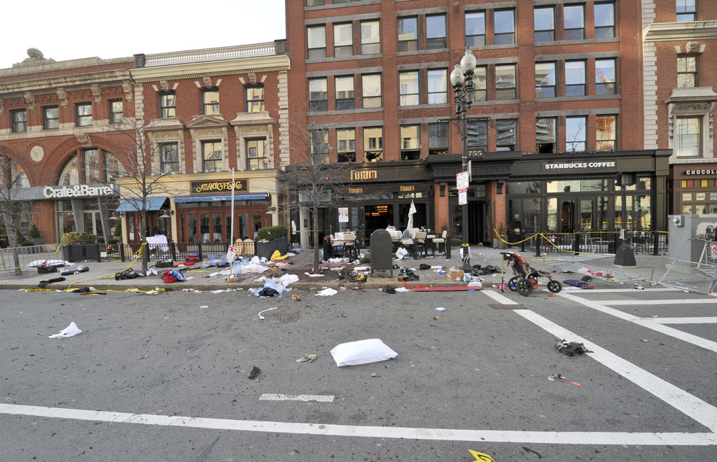 This April 15, 2013, forensics photograph made by the FBI and presented in federal court as evidence during the penalty phase of convicted Boston Marathon bomber Dzhokhar Tsarnaev's trial, shows the scene where the second bomb exploded on Boylston Street near the marathon finish line in Boston. Three people were killed and more than 260 others were wounded when twin bombs exploded.