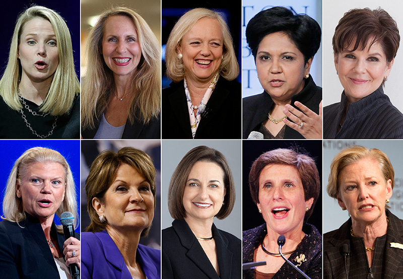 The ten highest-paid female CEOs in 2014. Top row, from left: Marissa Mayer, Yahoo; Carol Meyrowitz, TJX Cos.; Meg Whitman, Hewlett-Packard; Indra K. Nooyi, Pepsico; and Phebe Novakovic, General Dynamics. Bottom row, from left: Virginia Rometty, IBM; Marilyn Hewson, Lockheed Martin; Patricia Woertz, Archer Daniels Midland; Irene Rosenfeld, Mondelez International; and Ellen Kullman, DuPont.