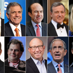 The 10 highest-paid CEOs in 2014, according to a study carried out by executive compensation data firm Equilar and The Associated Press: Top row, from left: David Zaslav, Discovery Communications; Les Moonves, CBS; Philippe Dauman, Viacom;  Robert Iger, Walt Disney; and Marissa Mayer, Yahoo. Bottom row, from left: Leonard Schleifer, Regeneron Pharmaceuticals; Marc Benioff, Salesforce; Jeffrey Leiden, Vertex Pharmaceuticals; Brian Roberts, Comcast; and Jeffrey Bewkes, Time Warner.