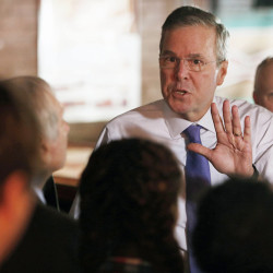 Former Florida Gov. Jeb Bush answers questions as he speaks to a morning crowd at a Concord, N.H. restaurant on, Thursday, May 21.