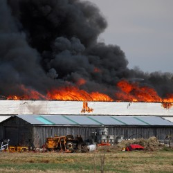 The AD Electric Inc. warehouse in Monmouth was destroyed by fire Tuesday afternoon.