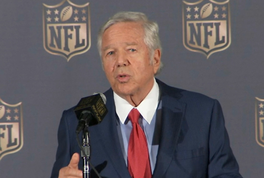 New England Patriots owner Robert Kraft speaks at the NFL owners meetings in San Francisco on Tuesday, when he announced that he is not appealing his team's punishments in the deflated footballs scandal.