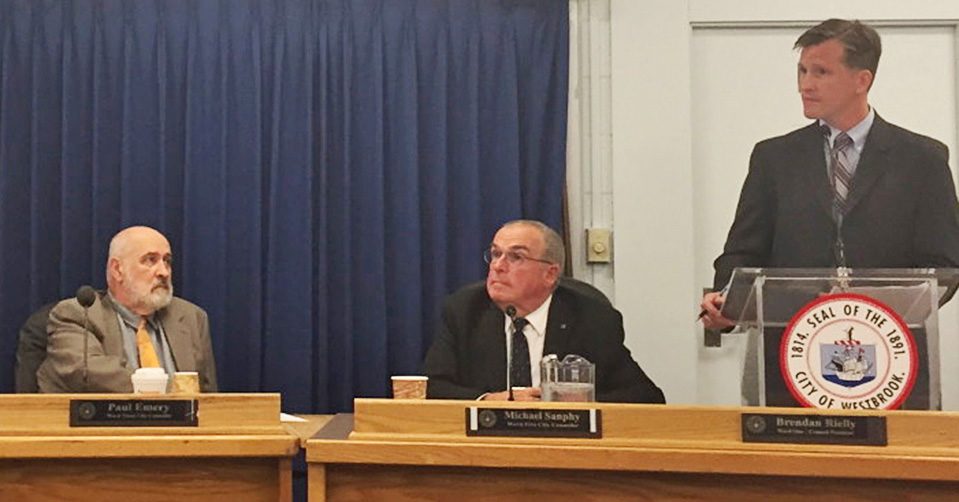 Westbrook City Council President Brendan Rielly, right, stripped Councilor Paul Emery, left, of his chairmanship of the council's Committee of the Whole on Monday in response to Emery's public remarks last week about Gov. Paul LePage. Photo by Matt Byrne/Staff Writer