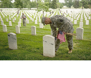 Soldiers from the U.S. Army's 3rd Infantry Regiment, the Old Guard, place flags at more than 224,000 headstones at Arlington National Cemetery in Arlington, Virginia, on April 21 in preparation for Memorial Day. Illustrates MEMORIALDAY-COMMENT (category k), by Jennie Haskamp, special to The Washington Post. Moved Friday, May 22, 2015. (MUST CREDIT: Photo by Spec. Steven Hitchcock/U.S. Army)