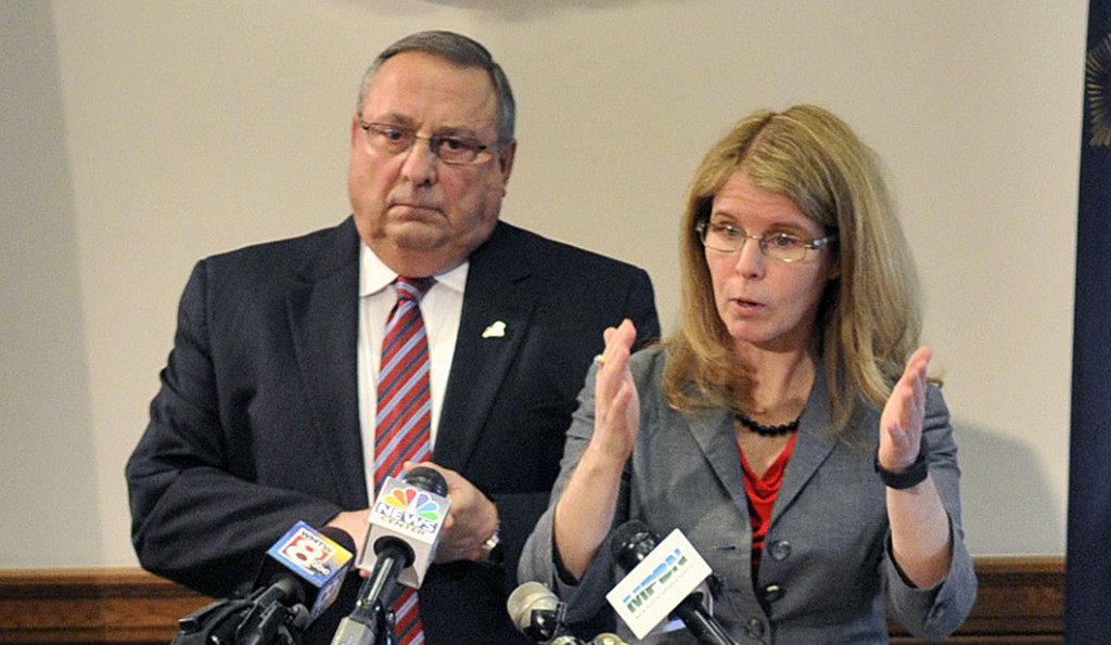 """Gov. Paul LePage and Department of Health and Human Services Commissioner Mary  Mayhew speak during a State House news conference Tuesday to unveil a bill to end the so-called """"welfare cliff."""""""