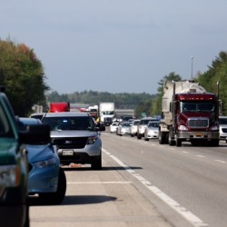 Traffic northbound on the Maine Turnpike in Saco after a fatal one-vehicle accident Thursday morning.