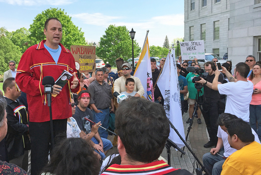 Chief Kirk Francis of the Penobscot Nation speaks Tuesday during a rally outside of the State House about the Penobscot and Passamaquoddy tribes' decision to withdraw their representatives from the Legislature. Kevin Miller / Staff Writer