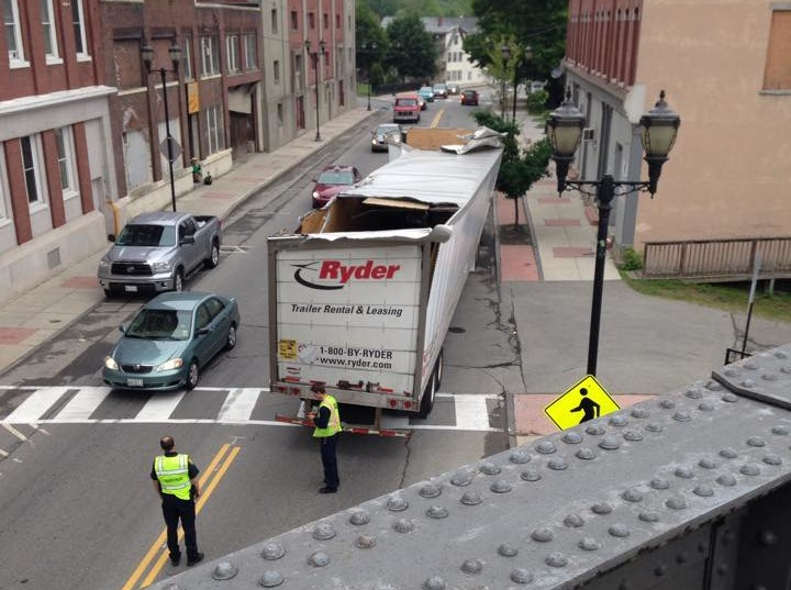 A tractor trailer truck hit the Water Street bridge in Augusta Tuesday morning. Traffic was reduced to one lane for about an hour.