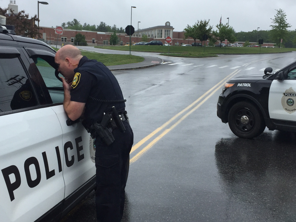 Augusta Police respond to a report of a bomb threat at Cony High School at 11 a.m. Tuesday.