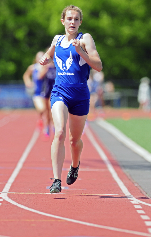 Erskine Academy's Kaylee Porter won the 800 meters during the Kennebec Valley Athletic Conference Class B track and field championships last Saturday at McCann Field in Bath.
