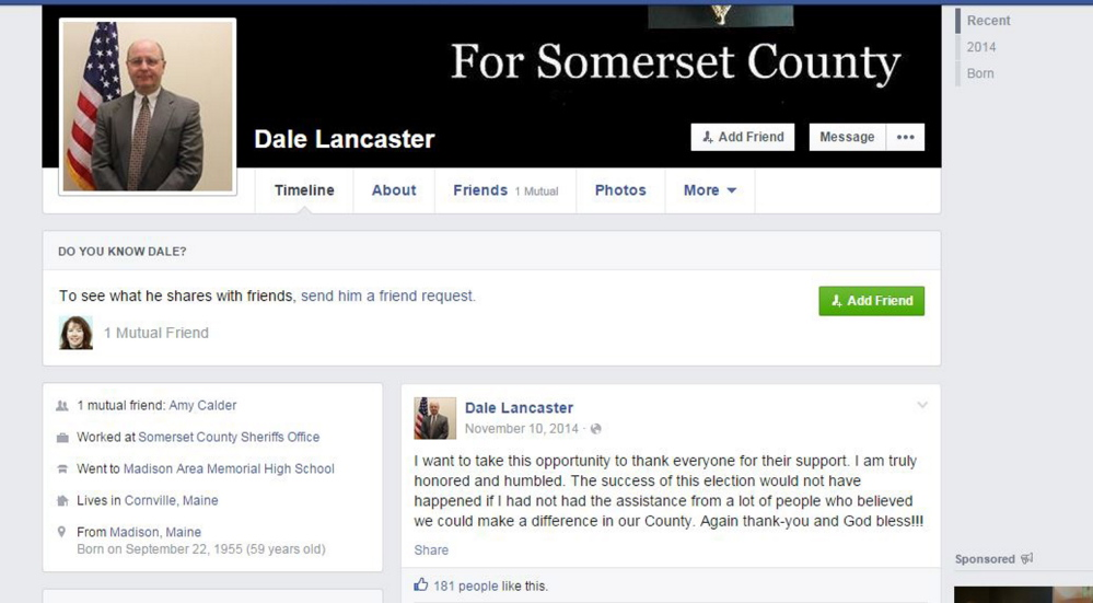 A screenshot of the real Somerset County Sheriff Dale Lancaster's Facebook page. A scammer claiming to be the sheriff on Facebook has been sending out friend requests recently, according to the department.