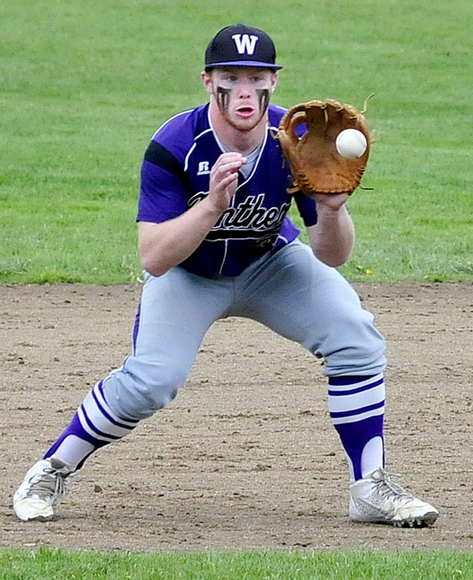 Waterville third baseman Dan Pooler prepares to make a play during an Eastern B prelim Tuesday against Gardiner. Pooler and the Purple Panthers prevailed 3-2.