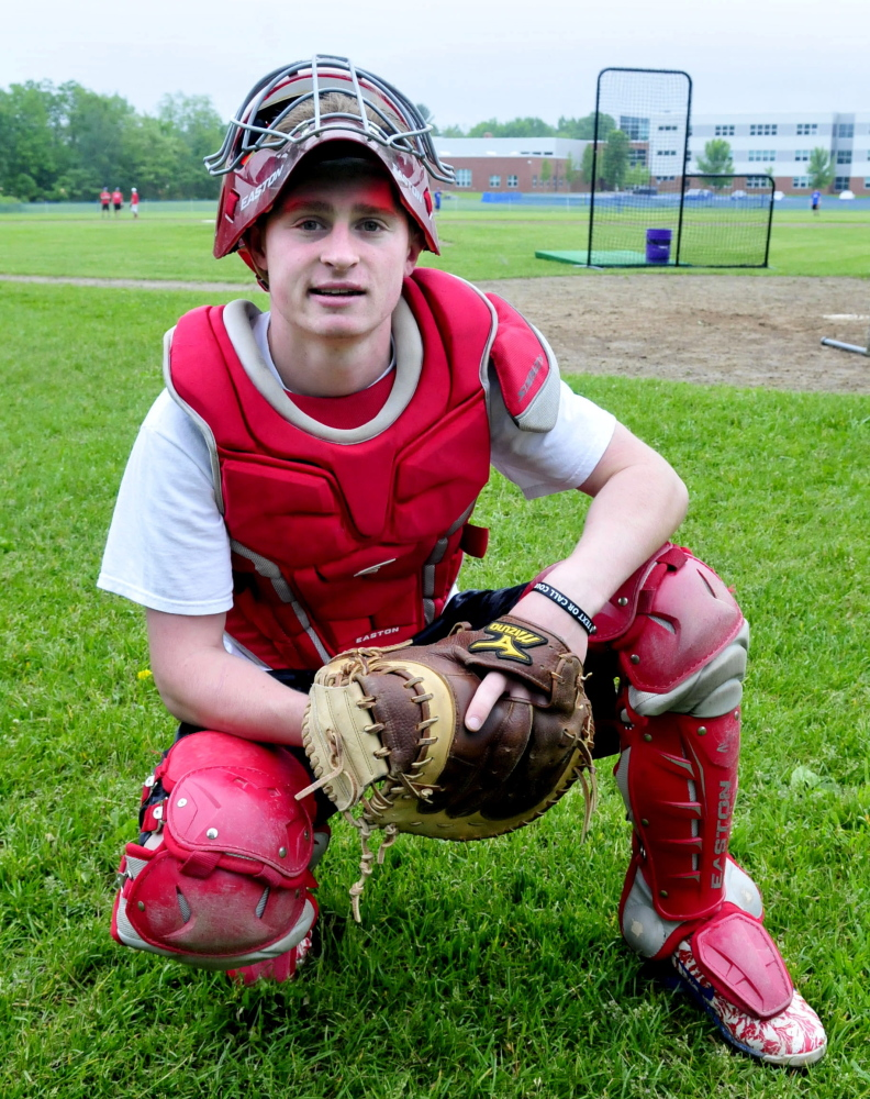 Staff photo by David Leaming   Messalonskee High School catcher Trevor Gettig has been a major contributor to the team's success. Gettig, a four-year starter, anchors a dominant rotation and also hits leadoff for the fourth-seeded Eagles.