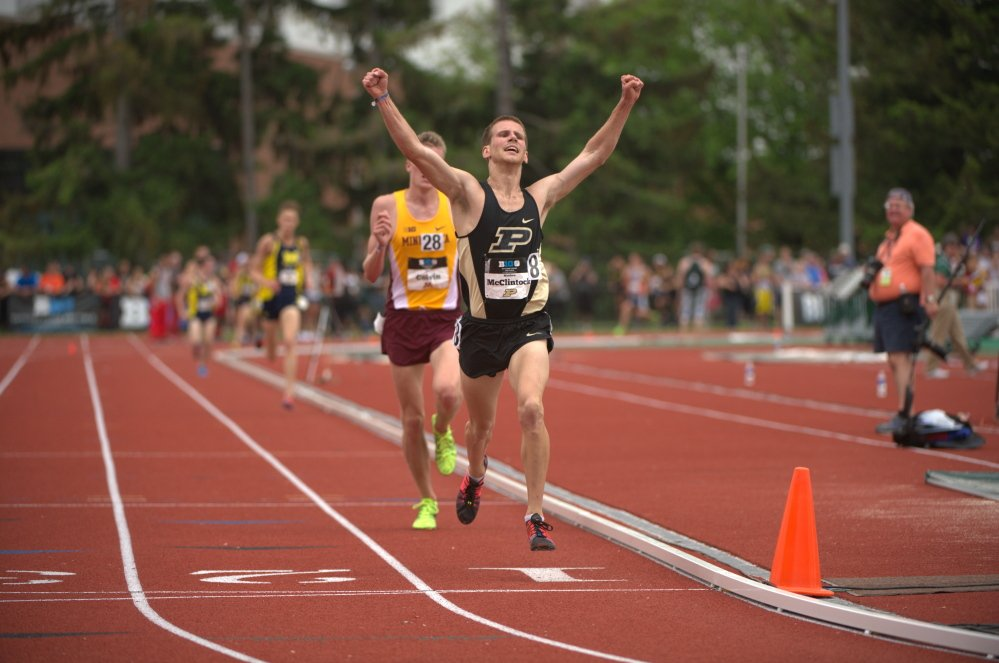 Contributed photo   Matt McClintock, of Athens and Purdue University, competed in the 10-kilometer race at the NCAA Division I track and field championships on Wednesday night in Eugene, Ore. McClintock finished seventh to earn All-American honors.