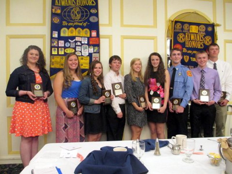 The Augusta Kiwanis Club paid tribute recently to nine area students who were presented Distinguished Youth plaques for volunteer work in their respective communities. They were, from left, Morgan Wellman, Cony High School; Kelsi Thibeau, Capital Area Technical Center; Kelsey Barrett, Gardiner Area High School; Daniel Constanza, Erskine Academy; Nicole Pelletier, Hall-Dale High School; Elizabeth D'Angelo, Maranacook Community High School; Angus Koeller, Monmouth Academy; Cameron Emmons, Richmond High School; and Benjamin Allen, Winthrop High School.