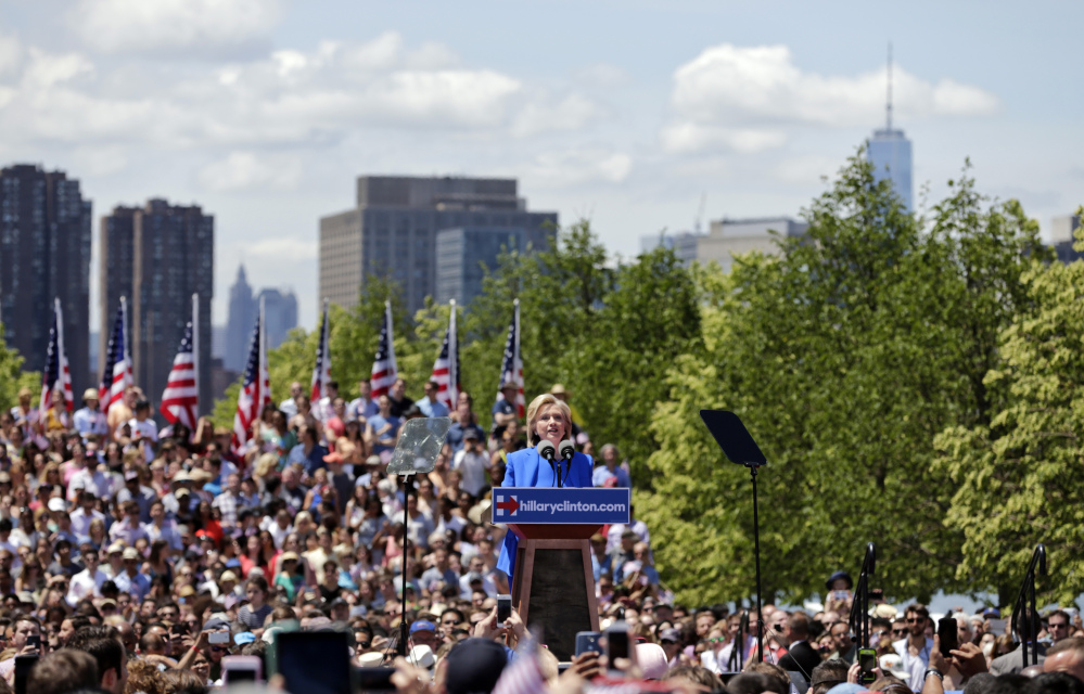 Democratic presidential candidate, former Secretary of State Hillary Rodham Clinton speaks to supporters on Saturday on Roosevelt Island in New York, in a speech promoted as her formal presidential campaign debut.