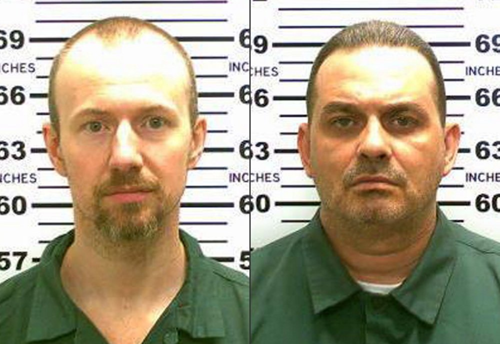 Photos released by the New York State Police shows inmates David Sweat, left, and Richard Matt. Authorities on Saturday, June 6, 2015 said Sweat, 34, and Matt, 48, both convicted murderers, escaped from the Clinton Correctional Facility in Dannemora, N.Y. (New York State Police via AP)