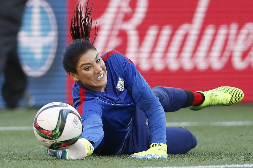 United States goalkeeper Hope Solo warms up prior to a FIFA Women's World Cup soccer match against Sweden last week in Winnipeg, Manitoba, Canada.