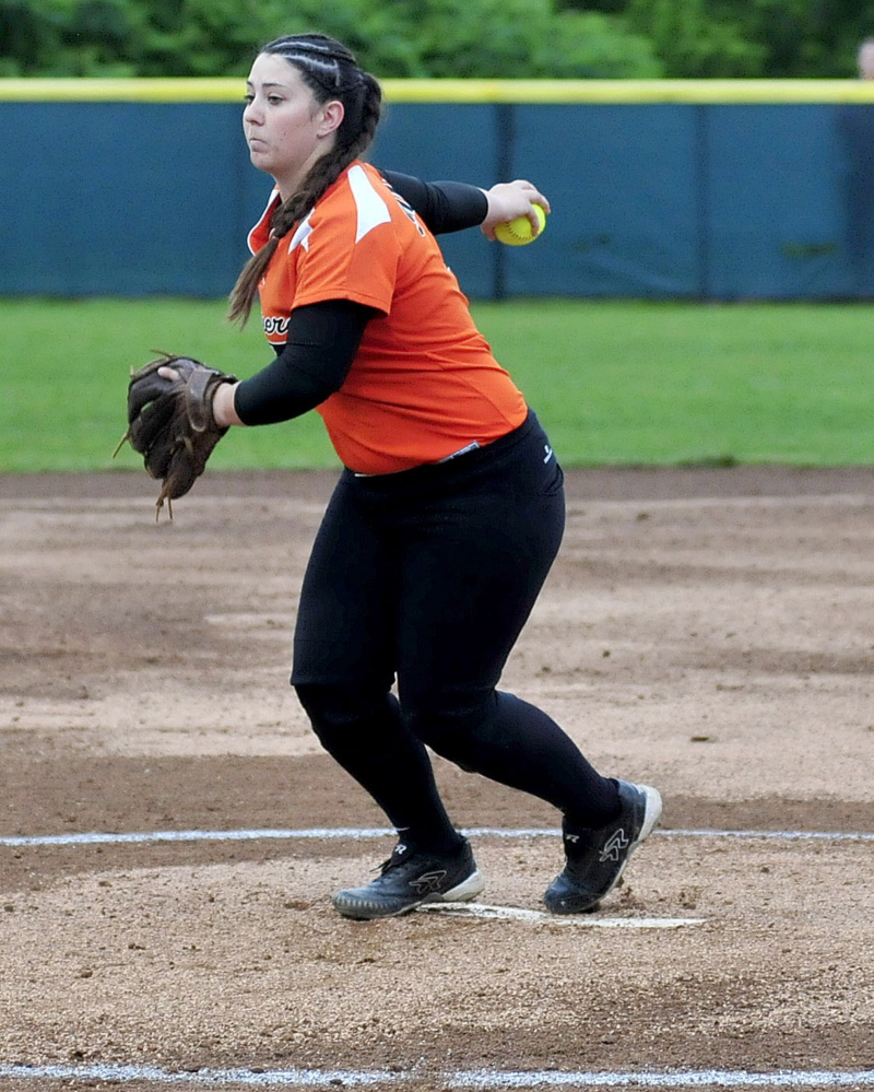 Gardiner pitcher Kristal Smith delivers a pitch against Hermon in the Eastern B title game Tuesday night in Brewer.