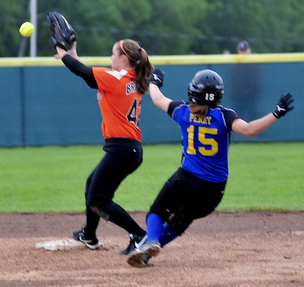 Gardiner's Bri Brochu makes a play at second to force out Hermon's Hailey Perry  during the Eastern B title game Tuesday night in Brewer.