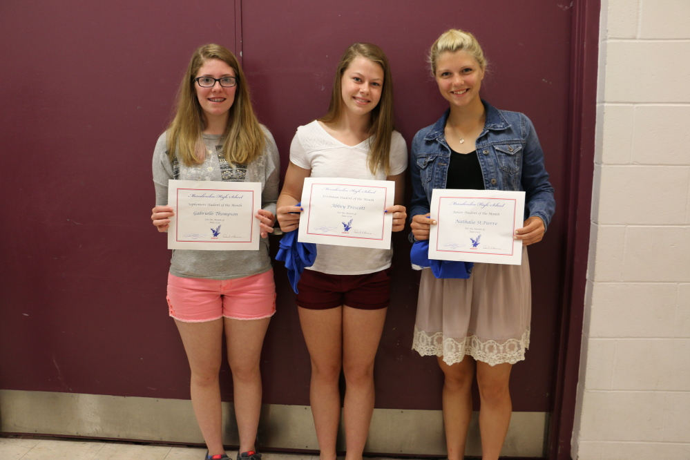 From left are Gabrielle Thompson, Abbey Prescott and Nathalie St. Pierre.