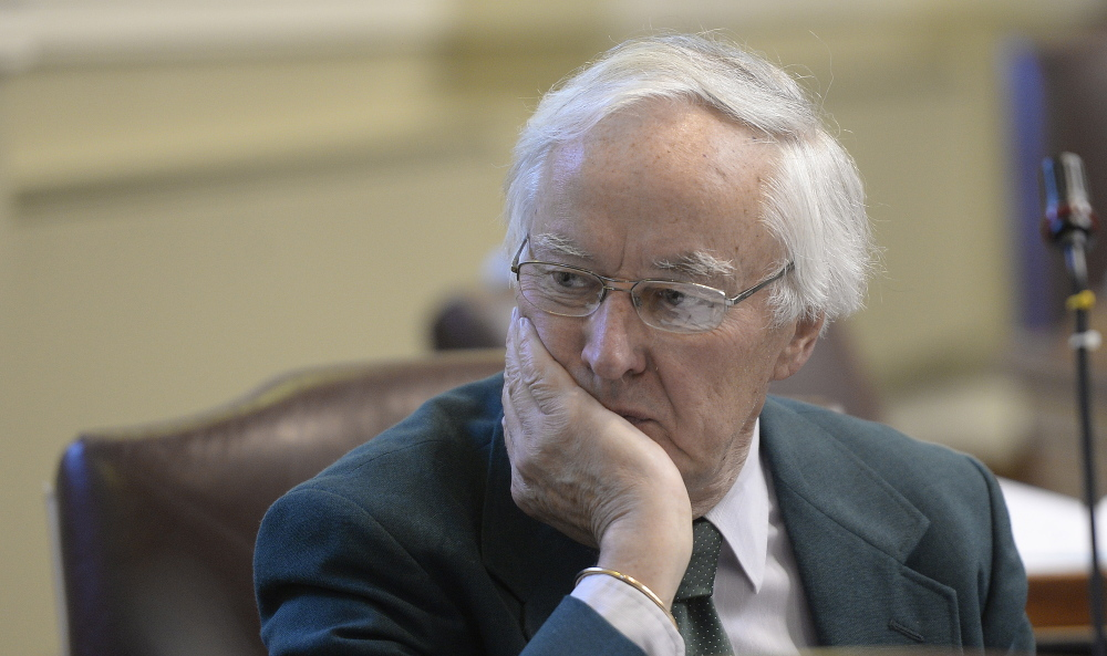 AUGUSTA, ME - JUNE 18: Representative John Martin of Eagle Lake waits for the house session in Augusta to start Thursday, June 18, 2015. (Photo by Shawn Patrick Ouellette/Staff Photographer)