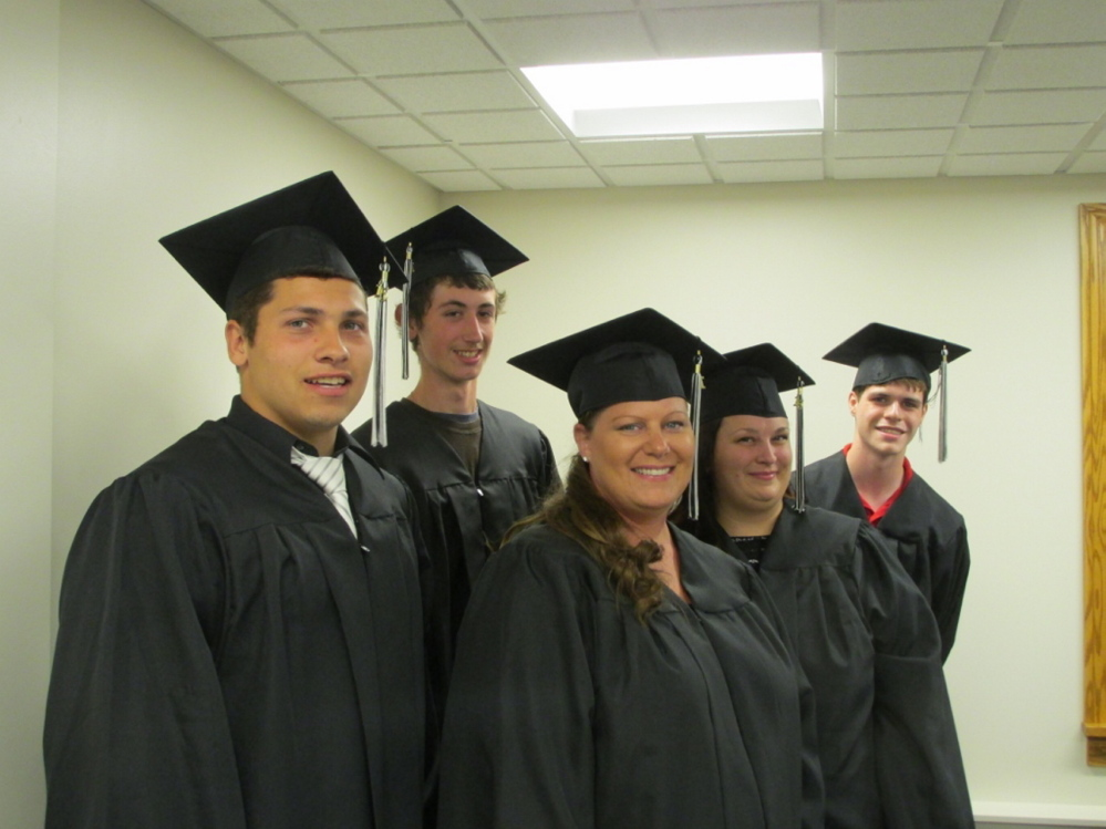 HiSET graduates, from left, are Caleb Castonguay, Travis Lowell, Susan Gibbs, Laura Browski and Daniel Packard.