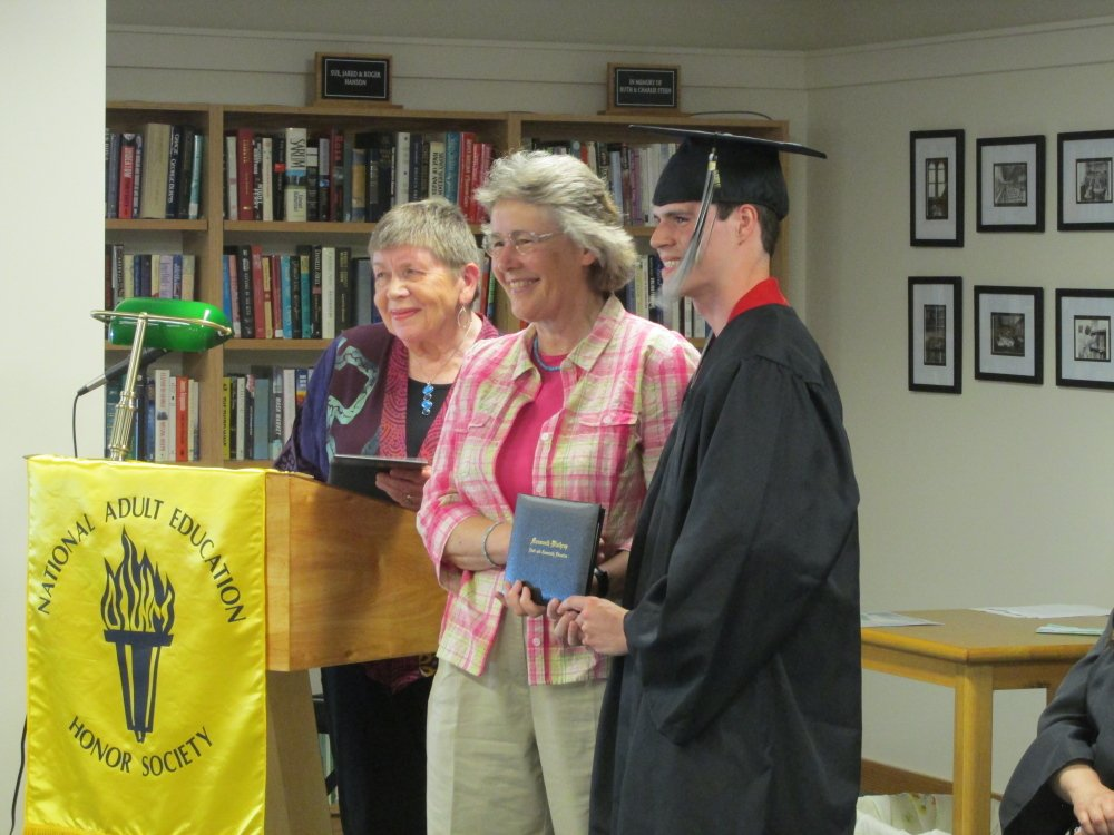 From left, Marcia Cook, director of the Monmouth/Winthrop Adult and Community Education program at Winthrop, Virginia Geyer of the Winthrop School Board, and graduate, Daniel Packard.
