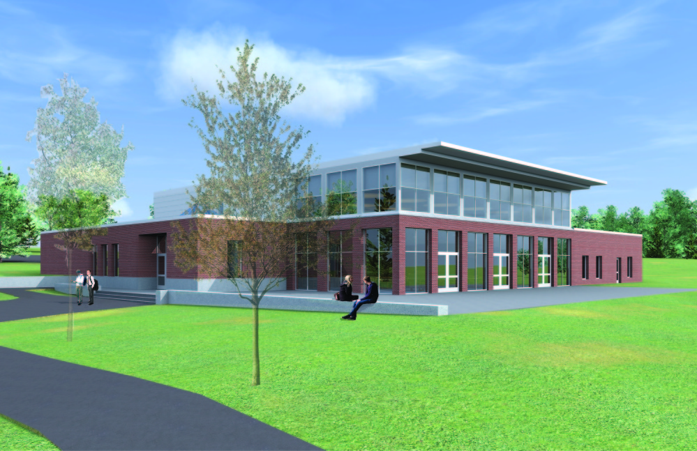 This artist's rendition shows a dining hall to be erected at Kents Hill School, in Readfield, with the support of a $3.5 million matching grant from the Alfond Foundation.