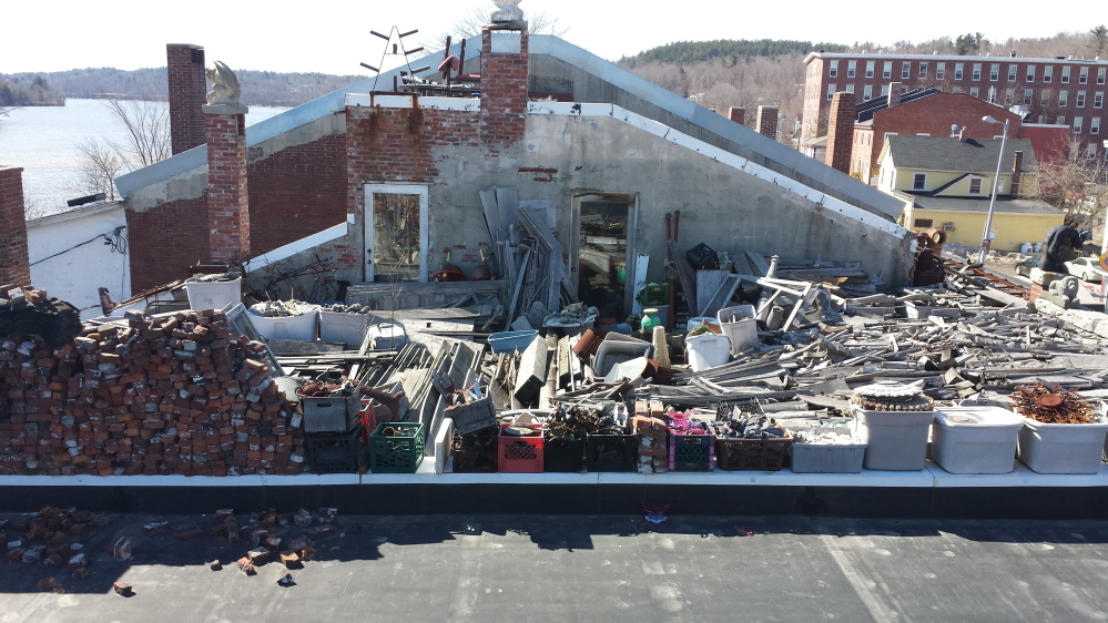 Hallowell city officials took this photo showing the roof of Robert Dale's downtown property last summer.