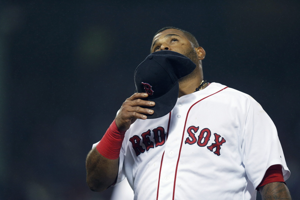 AP photo   Boston Red Sox third baseman Pablo Sandoval looks up as he walks to the dugout during the ninth inning of a game Monday against the Atlanta Braves in Boston.